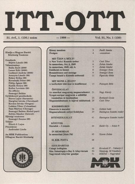 1998 - 31. évf., 1 szám