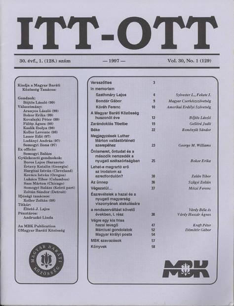 1997 - 30. évf., 1 szám