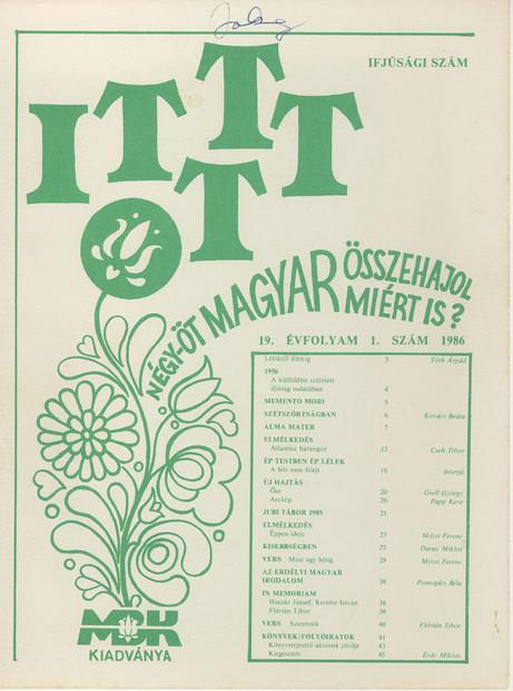 1986 - 19. évf., 1 szám