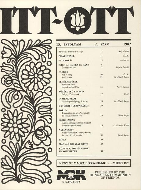 1982 - 15. évf., 2 szám