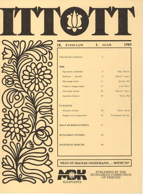 1985 - 18. évf., 1 szám