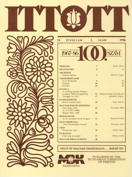 1986 - 19. évf., 2 szám