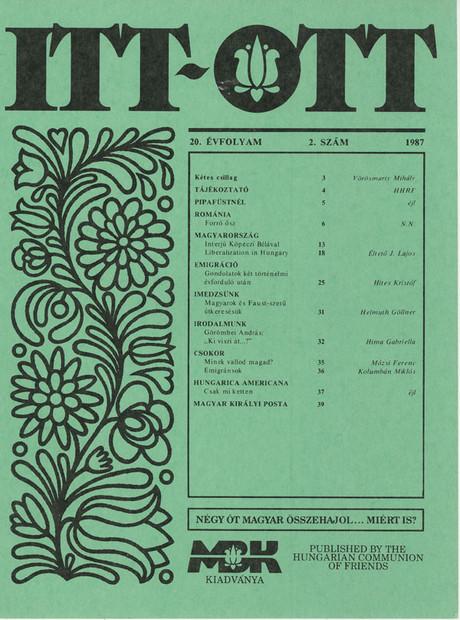1987 - 20. évf., 2 szám