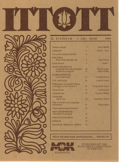1989 - 22. évf., 1 szám