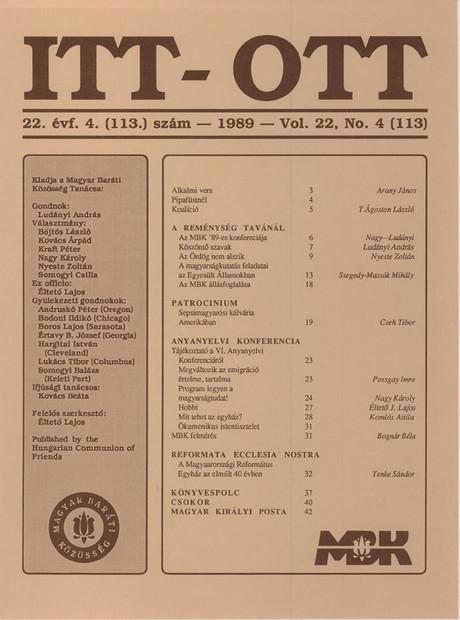 1989 - 22. évf., 4 szám