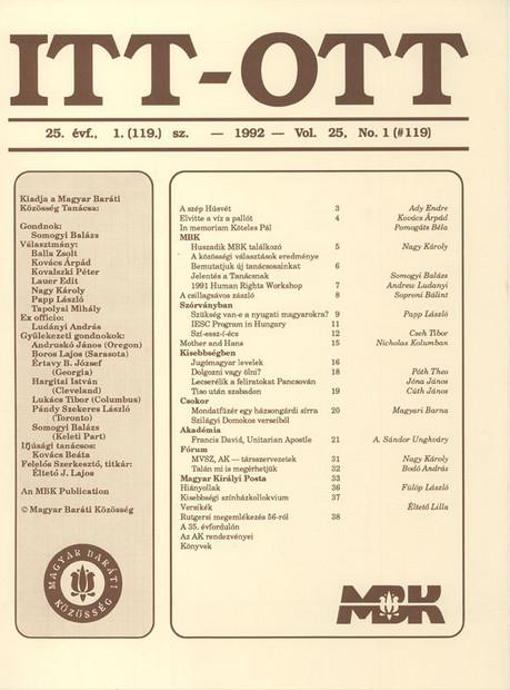 1992 - 25. évf., 1 szám
