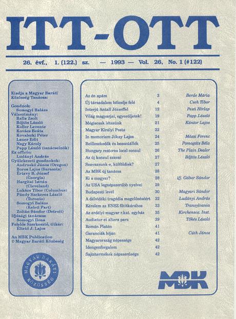 1993 - 26. évf., 1 szám