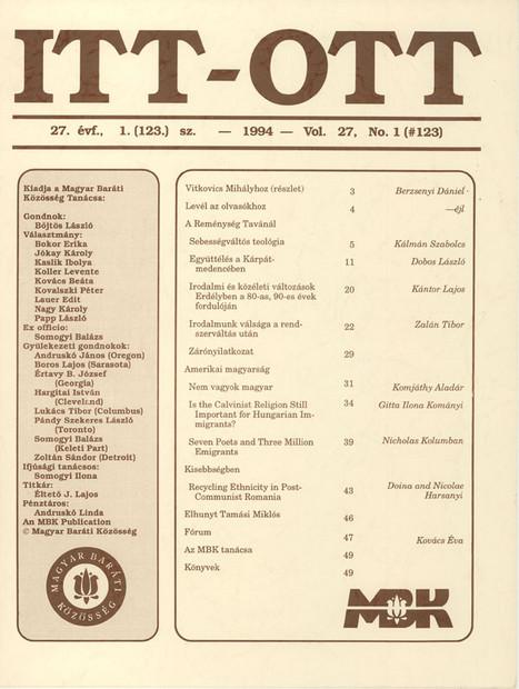 1994 - 27. évf., 1 szám