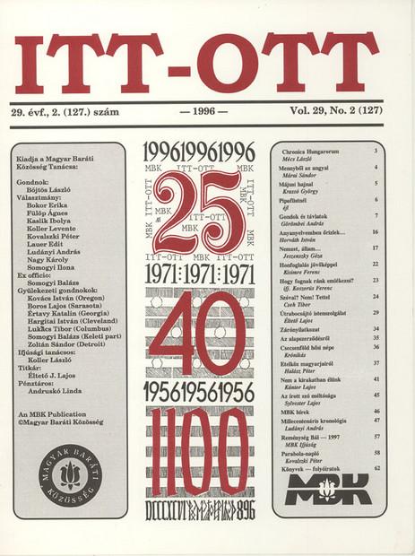 1996 - 29. évf., 2 szám