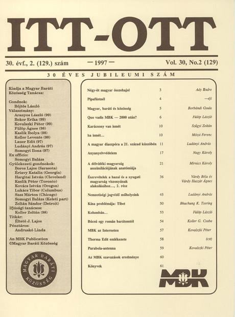 1997 - 30. évf., 2 szám